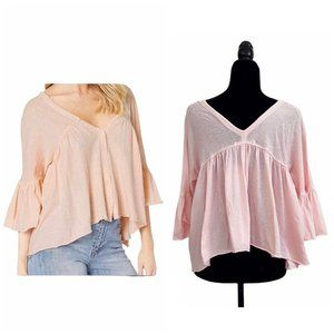 NWT Free People Sweet Life Shell Pink Ruched Top S